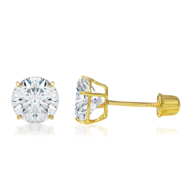CZ stud earrings in yellow gold and white gold