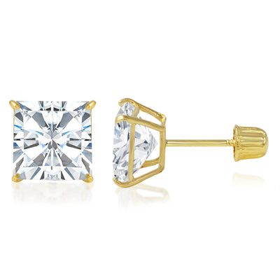 real gold brilliant high quality sparkling sparkle shine hypoallergenic ear screwback carats oro aretes mujer blanco jewelry unisex men women girl pretty studs gift nickelfree square princess cut solitaire basket solid secure set cheap beautiful