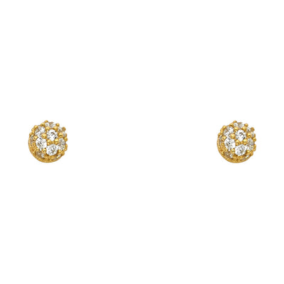 14K Gold CZ Round Crystal Ball Stud Earrings