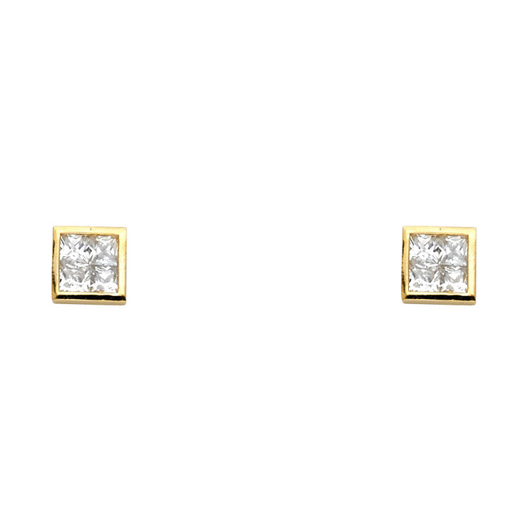14K Gold CZ Square Stud Earrings
