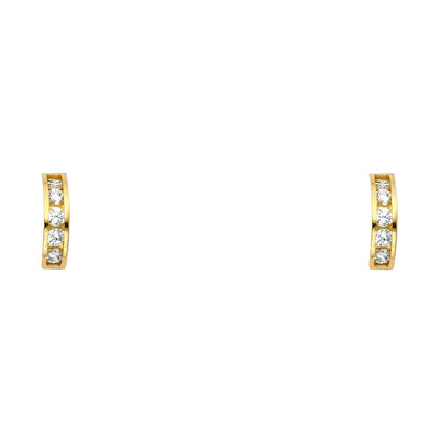14K Gold CZ Stud Earrings