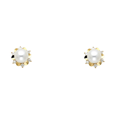 14K Gold CZ Cultured Pearl Stud Earrings
