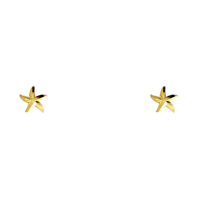 14K Gold CZ Flower Stud Earrings