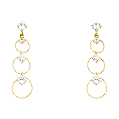14K Gold CZ Circle Dangle Drop Stud Earrings