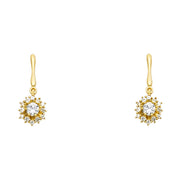 14K Gold CZ Flower Dangle Drop Stud Earrings