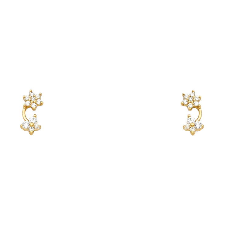 14K Gold CZ Flower and Butterfly Drop Stud Earrings