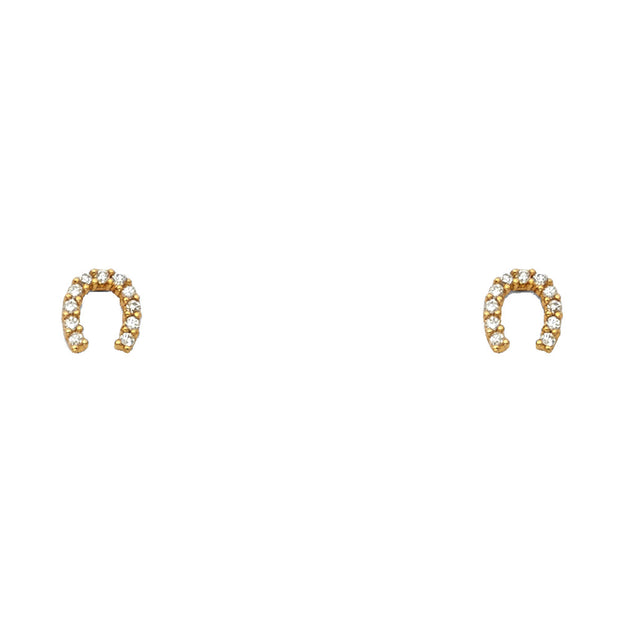 14K Gold CZ Horse Shoe Lucky Charm Stud Earrings