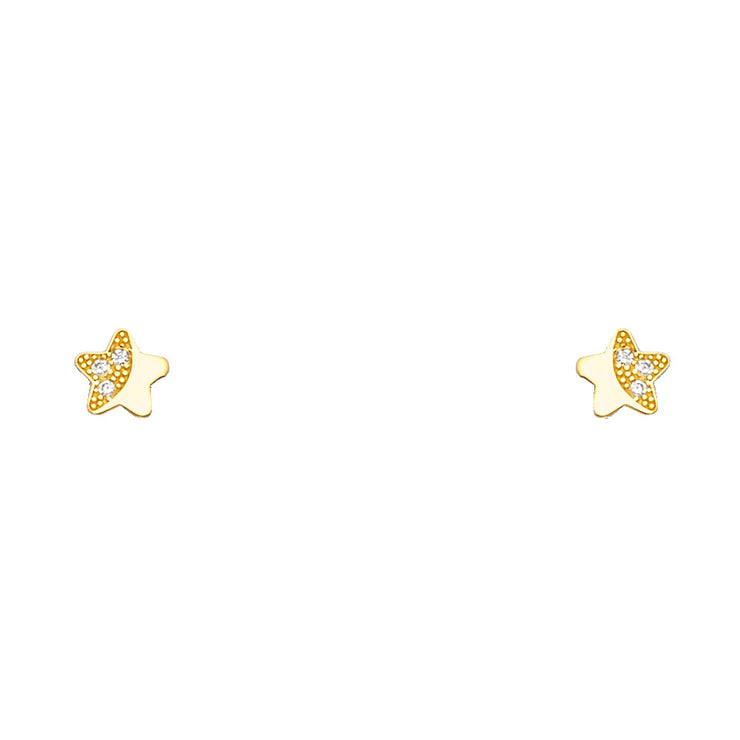 14K Gold CZ Cute Tiny Star Stud Earrings