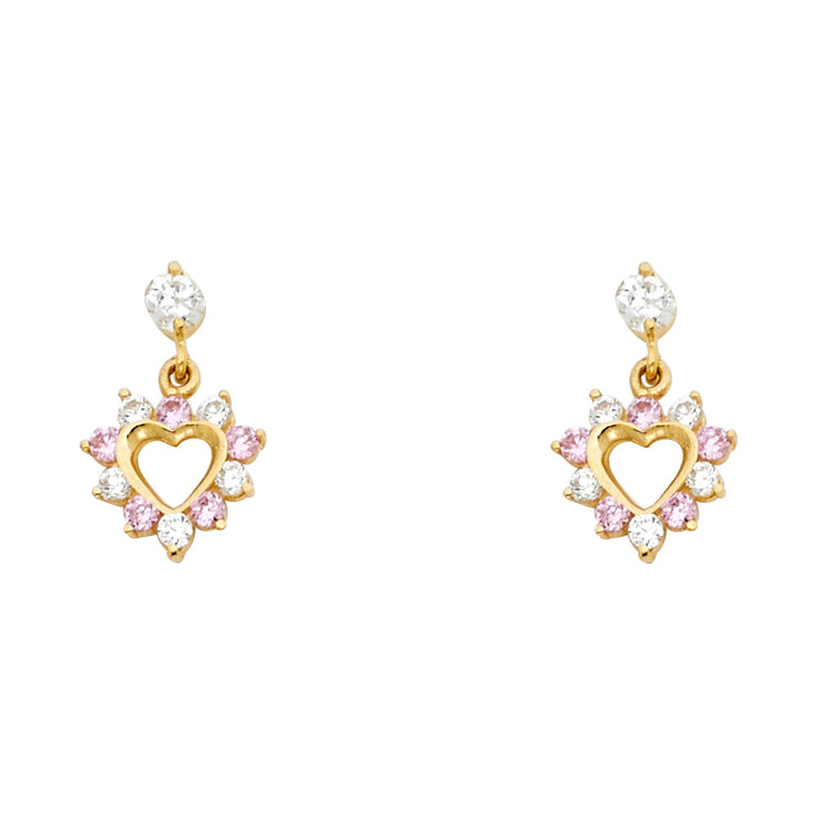 14K Gold CZ Heart Dangle Drop Stud Earrings