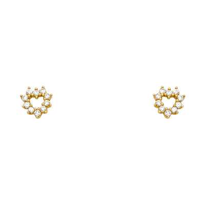 14K Gold CZ Heart Stud Earrings