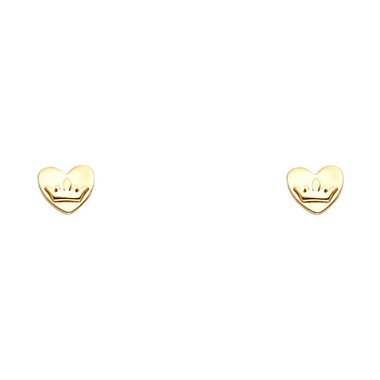 14K Gold Heart and Princess Crown Stud Earrings