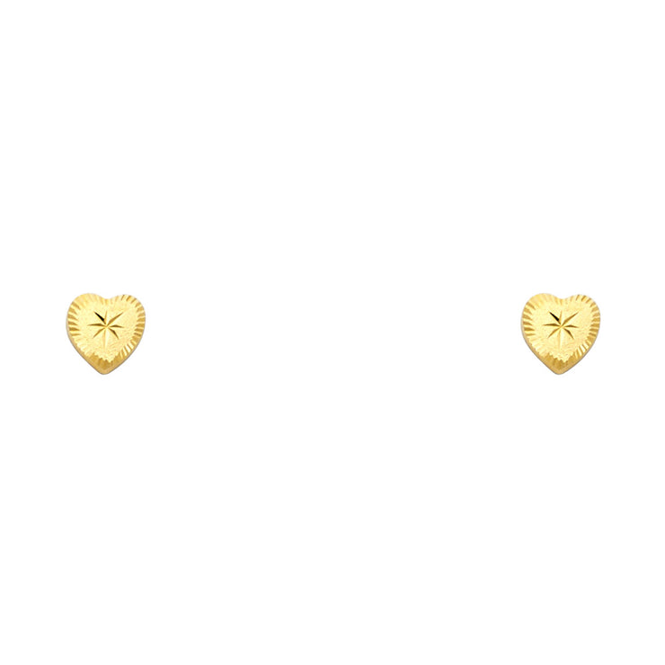 14K Gold Minimalist Heart Stud Earrings