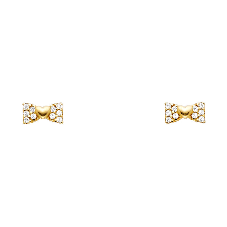 14K Gold CZ Ribbon Bow and Heart Stud Earrings