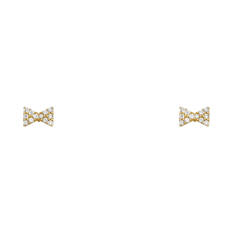 14K Gold CZ Ribbon Bow Stud Earrings