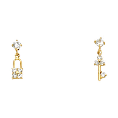 14K Gold CZ Lock & Key Symbol Stud Earrings