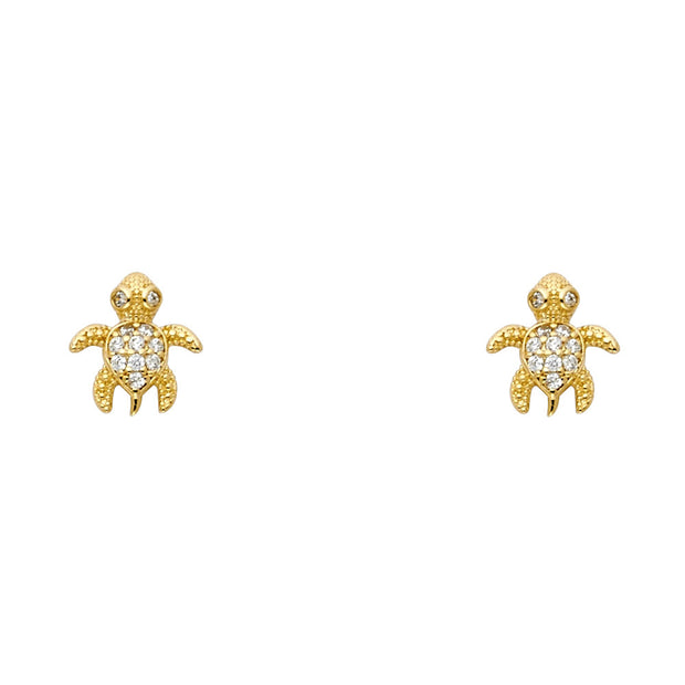 14K Gold CZ Tiny Sea Turtle Stud Earrings