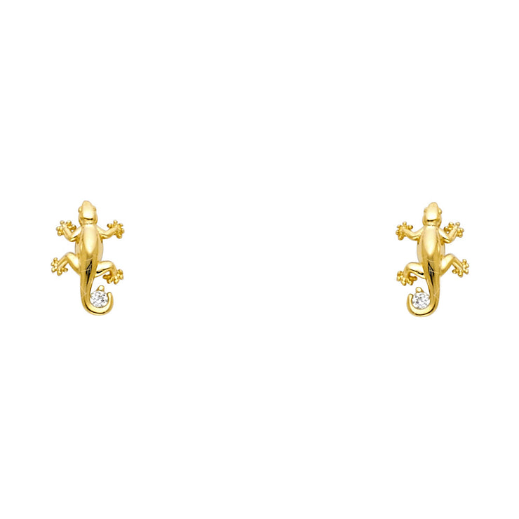 14K Gold CZ Crawling Lizard Stud Earrings