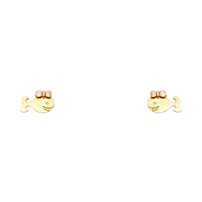 14K Gold Tiny Whale Fish and Bow Stud Earrings