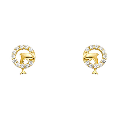 14K Gold CZ Tiny Dolphin and Circle Stud Earrings