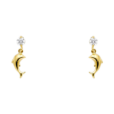 14K Gold CZ Dolphin Dangle Drop Stud Earrings