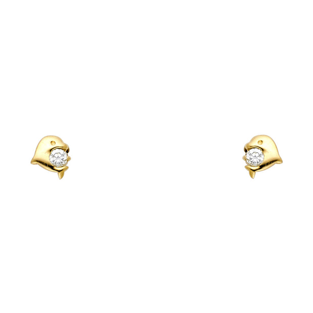 14K Gold CZ Tiny Dolphin Stud Earrings