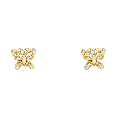 14K Gold CZ Beautiful Butterfly Stud Earrings