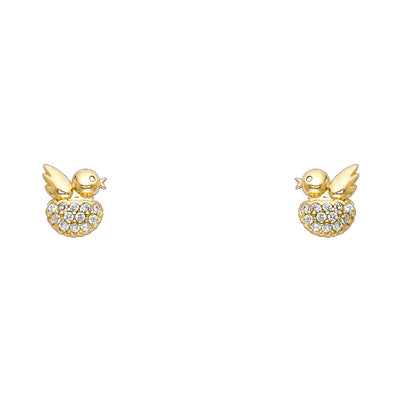14K Gold CZ Little Bird & Nest Stud Earrings
