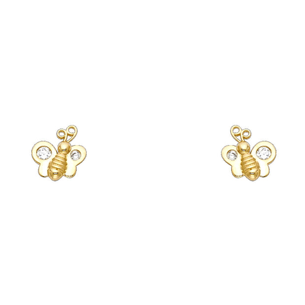14K Gold CZ Tiny Honey Bee Bumble Bee Stud Earrings