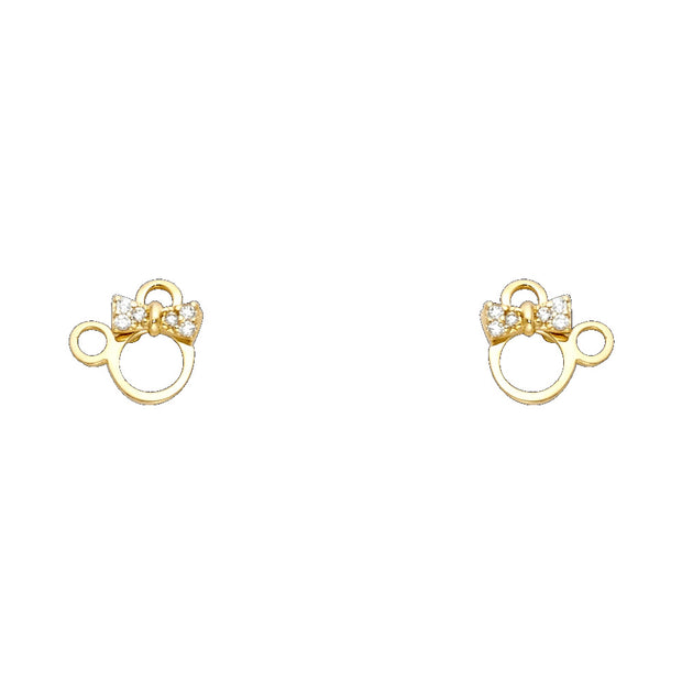 14K Gold CZ Cute Cat Kitten Stud Earrings