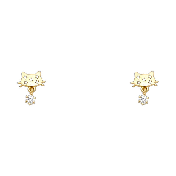14K Gold CZ Cute Cat Kitten with Tiny Stars Stud Earrings
