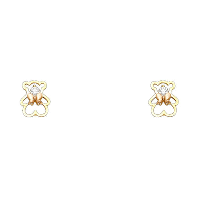 14K Gold CZ Cute Teddy Bear and Bow Stud Earrings
