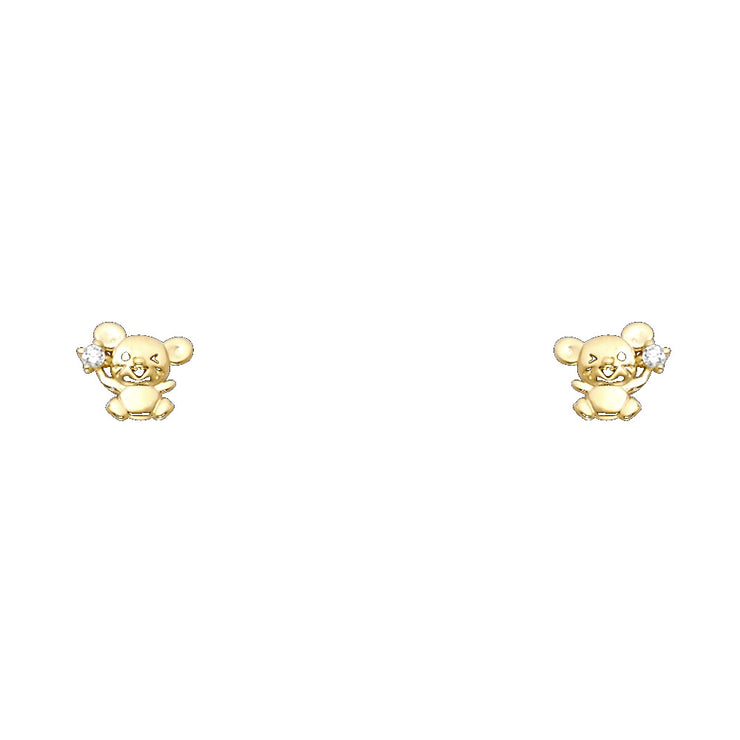 14K Gold CZ Cute Tiny Mouse Rat Stud Earrings