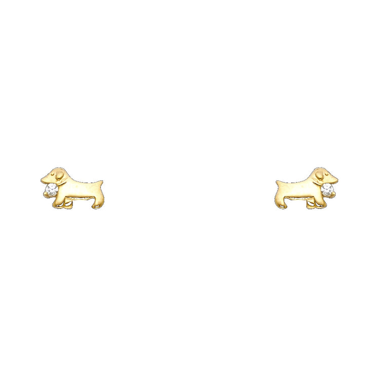14K Gold CZ Cute Dog Puppy Animal Stud Earrings