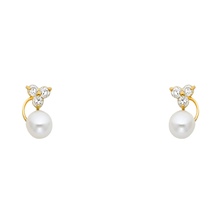 14K Gold CZ Cultured Pearl and Flower Stud Earrings
