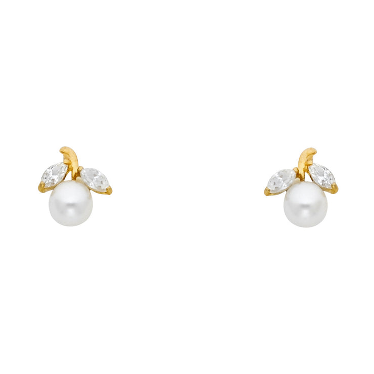 14K Gold CZ  Pearl and Leaf Stud Earrings