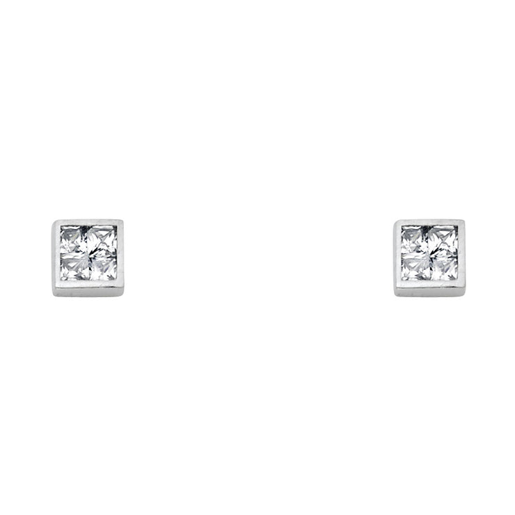 14K Gold Invisible CZ Square Stud Earrings