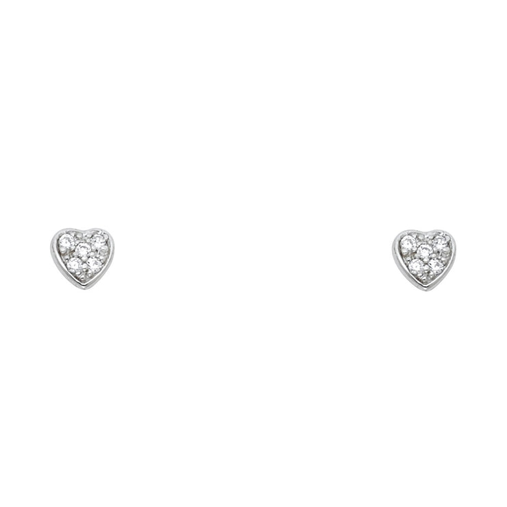 14K Gold CZ Stone Heart Stud Earrings