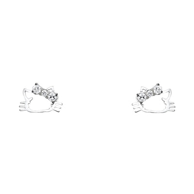 14K Gold CZ Hello kitty Cat Stud Earrings