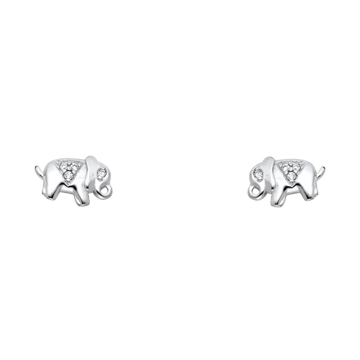 14K Gold CZ Stone Cute Elephant Stud Earrings
