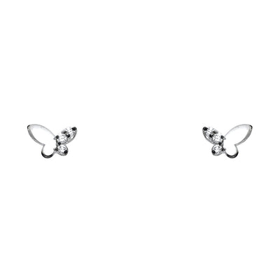 14K Gold CZ Stone Butterfly Stud Earrings