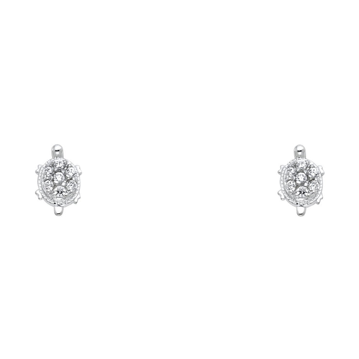 14K Gold CZ Turtle Lucky Charm Stud Earrings