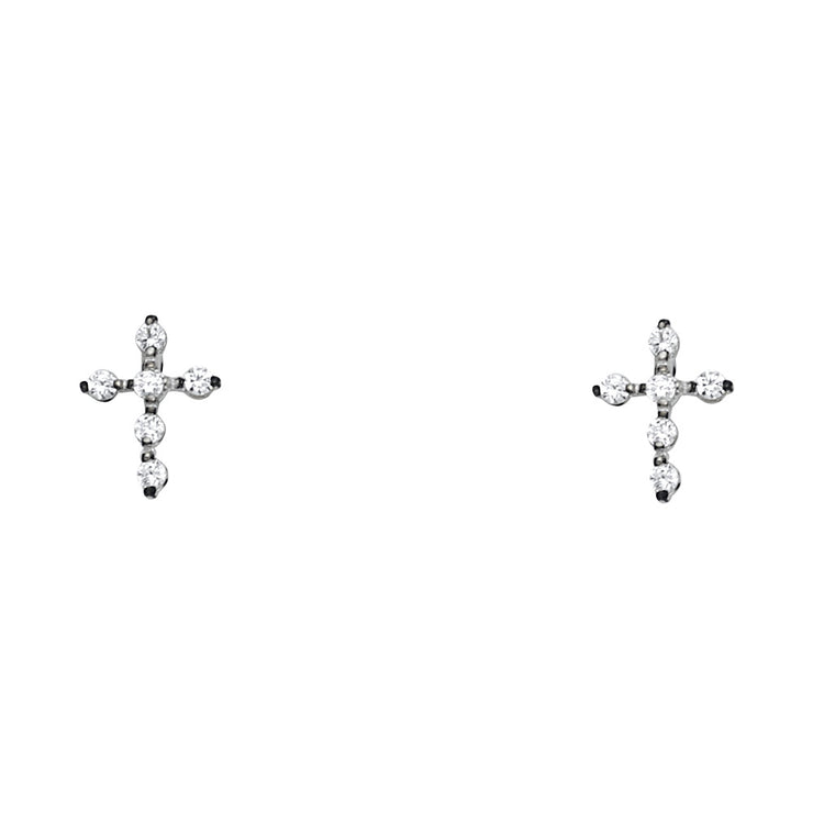14K Gold CZ  Jesus Christ Cross Stud Earrings