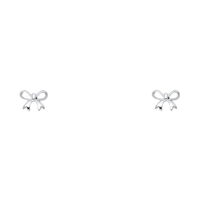 14K Gold Ribbon Bow Stud Earrings
