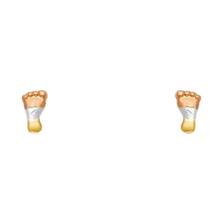 14K Gold Small Foot Stud Earrings