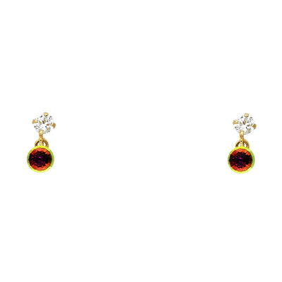 14K Gold CZ Stone Rainbow Dangle Stud Earrings