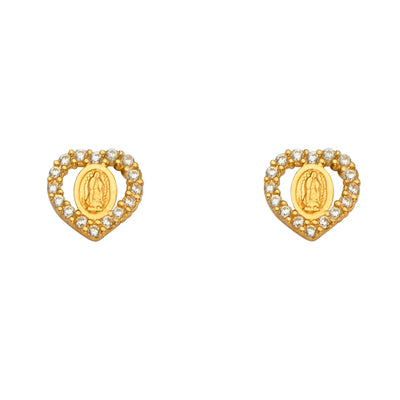 14K Gold CZ Stone Heart Cut Guadalupe Stud Earrings
