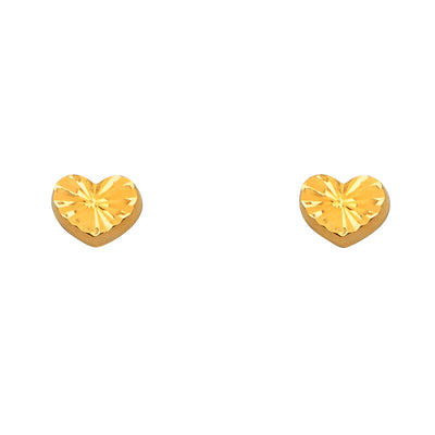 14K Gold Diamond Cut Heart Stud Earrings