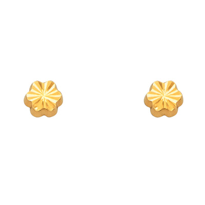 14K Gold Diamond Cut Flower Stud Earrings