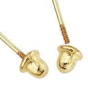 14K Gold CZ Teddy Bear Stud Earrings