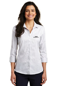 LADIES ¾ SLEEVE MICRO TATTERSALL EASY CARE SHIRT - White/Dark Grey